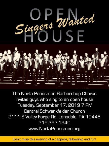Singers Wanted! - OPEN HOUSE SEPT 17, 2019