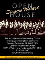 Singers Wanted!! OPEN HOUSE SEPT 17 2019